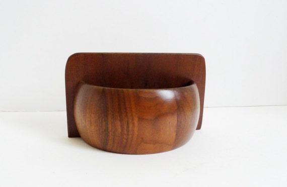 Quality Heirloom Wooden Ware Walnut Salt Box Napkin Toothpick Holder Mid Century