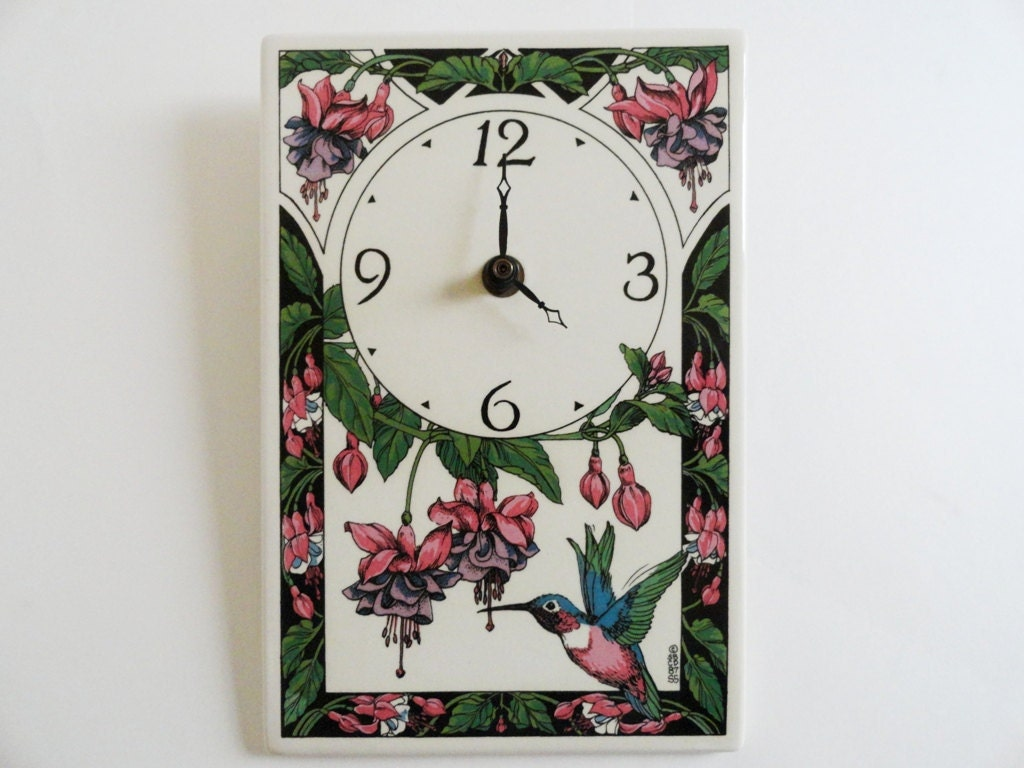 Santa Barbara Ceramic Design Wall Clock Hummingbird Fuschias