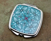 Vintage Style Compact Mirror in Teal and Magenta