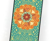 Geometric iPhone Case, Teal Blue and Orange, Celtic or Renaissance Style, Vintage iPhone 4 5 6 Cover, Retro Plastic iPhone Case
