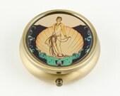 Art Deco Aphrodite Pill Box or Mint Case, Bronze Tone