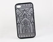 Silver Art Deco iPhone 5 Case, Retro Geometric iPhone 6 case, Art Deco iPhone 5 Cover, Protective Silicone Rubber Vintage iPhone 6 Case