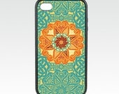 Celtic iPhone 5 Case, Geometric iPhone 6 Case, Medallion in Teal Blue Orange, iPhone 6 Plus, Protective Silicone Rubber iPhone case