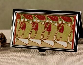 Business Card Case, Art Nouveau Floral Design, Credit Card Holder or Slim Wallet, Handmade Card Case