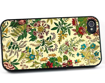 Floral iPhone Case, Victorian Flower Garden Retro iPhone 4 5 6 case, Plastic iPhone Case, Vintage style iPhone Cover, cell phone case