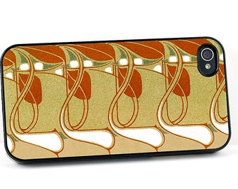 Art Nouveau iPhone Case, Vintage iPhone 4 5 6 cover in Brown, Gold and White, Retro style plastic iPhone Cover, Cell Phone Case
