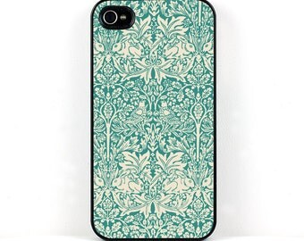 William Morris iPhone Case, iPhone 4 5 6 Case, Brother Rabbit Victorian Design, Teal Blue, White, Cell Phone Case
