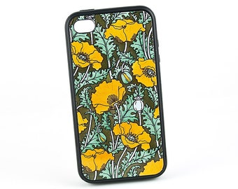 Vintage Floral iPhone 5 Case iPhone 6 case,  iPhone 5C Case, Golden Yellow Poppy iPhone 6 Plus, iPhone 7 Case