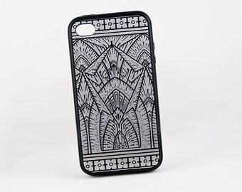 Silver Art Deco iPhone 5 Case, Retro Geometric iPhone 6 case, Art Deco, Silicone Rubber Vintage iPhone 6 Case, iPhone 7 Case