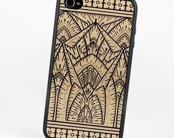 Art Deco iPhone 5 Empire Gold and Black Design, Geometric iPhone 5C case, Silicone Rubber iPhone Case, iPhone 7 Case