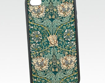 Floral iPhone 5 Case, Honeysuckle, Vintage iPhone 6 Case, William Morris Flower, Silicone Rubber iPhone 5C Case,, iPhone 7 Case