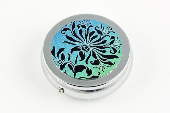 Pill Box or Mint Box - Floral Design in Black Green and Blue, Silver Tone