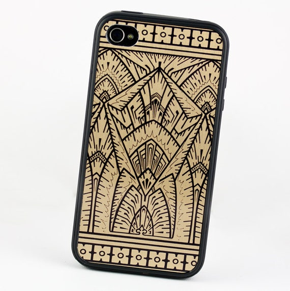 Art Deco iPhone 5 Empire Gold and Black Design, Geometric iPhone 5C case, Protective Silicone Rubber iPhone 5 cover