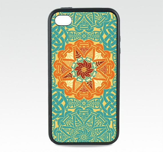 Celtic iPhone 5 Case, Geometric iPhone 6 Case, Medallion in Teal Blue Orange, iPhone 6 Plus,  Silicone Rubber iPhone case, iPhone 7 Case