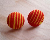Gold and Red Earrings, Small - Handprinted