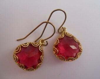Hot Pink Dew Drop Earrings