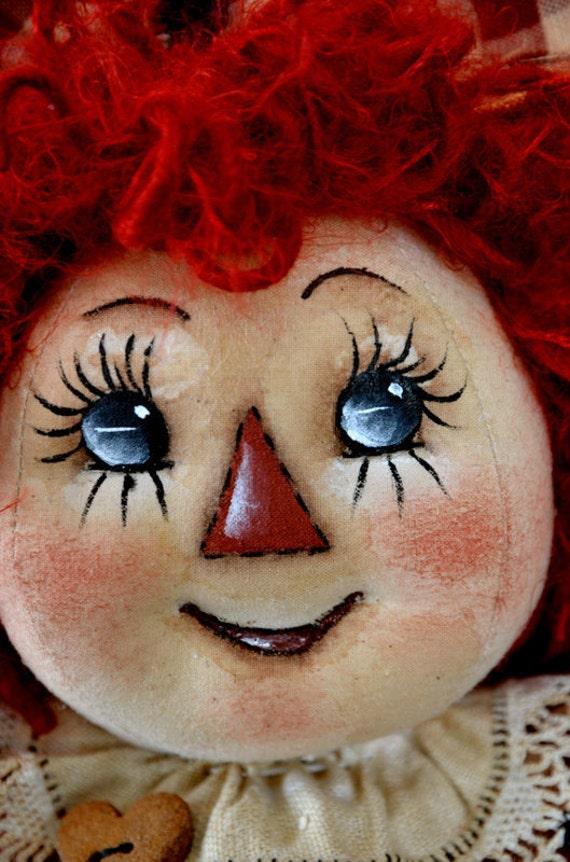 Primitive Raggedy Ann doll, Annie OFG Team Hold For Glenda