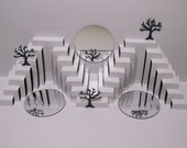 3D Pop Up Card STAIRS TREES MIRRORS' Reflection Geometric Sculpture Home Decor in White and Dark Green Original Design Signed. One Of A Kind