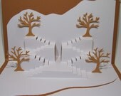 Two Sets of STAIRS w/Trees Pop-Up Card in White and Light Brown Origamic Architecture ORIGINAL Design Signed By The Artist.  One of a Kind