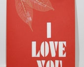Mothers Day I LOVE YOU Greeting Card Original Design Handmade Silhouette Cutout Cut Out Letters in Red and White for All Occasions OOAK