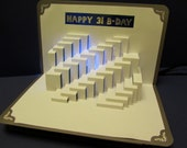HAPPY 31st B-Day STAIRS To SUCCESS 3D Pop-Up Card Origamic Architecture Cut by Hand Custom Order Card in White and Metallic Silver OOaK
