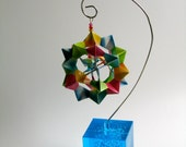 VALENTINE'S DAY GIFT Ornament Home Décor 3d Modular Origami Handmade with Rainbow Colors of Washi Paper on an Ornament Stand OOaK