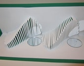 Waves and Mirror Reflections in White and Green Pop Up Card Origamic Architecture W/Intricate Cuts Home Decoration Handmade One Of A Kind