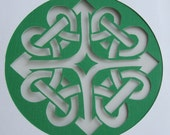 Eternity Celtic Knot Greeting Card Silhouette Cutout in White & Green Original Handmade Cut Out OOAK