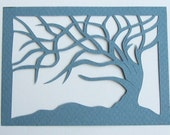 ACEO Tree Of Life Blue Silhouette Cutout Original Design Elegant Handcut When Floating in a Frame and Turned Into Wall Art OOAK Signed by Ar