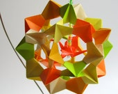 Ornament Home Décor 3D Modular Origami With Bright Fluorescent Colors on An Ornament Stand OOAK