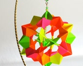 MOTHER'S DAY GIFT Ornament Home Décor Modular Origami Handmade in Neon Fluorescent Colors on a Gold Tone Metal Ornament Stand OOaK