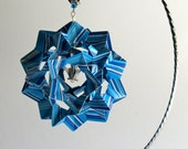 Ornament Decoration Home Décor 3D Modular Origami HANDMADE in Stripes of Blue Shades on Silver Metal Ornament Stand One Of A Kind