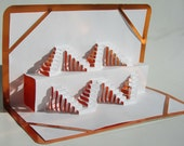 STAIRS in Geometric Symmetry ORIGINAL 3D Pop Up Paper Sculpture Origamic Architecture in White and Metallic Shimmery Copper.  Signed. OOaK