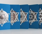 HANUKKAH Greeting Cards Handmade With Intricate Lace Paper Cuts in Metallic Silver Paper and Set in Blue & White. Set of FIVE