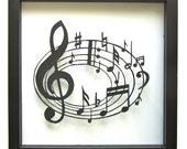 Music Notes  for MUSIC LOVERs Wall and Home Décor Silhouette Paper Cutout ORIGINAL Design SIGNED Handmade Framed One Of A Kind
