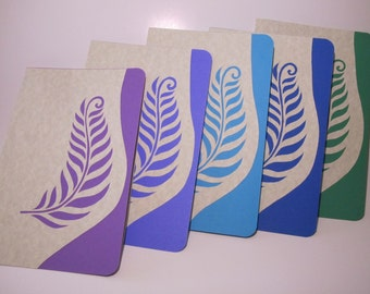 Greeting Cards, Event Invitations Handmade with Original Silhouette Cutout of Fern Leaves in Cool Colors of Turquoise, Blue, Purples OOAK