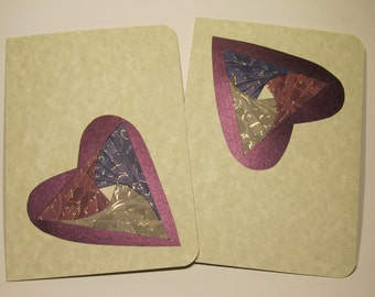 VALENTINES Greeting Cards Artistically Handmade with Spectacular Hearts in Shades of Silver, Blue and Maroon Gold Embossed Paper OOAK
