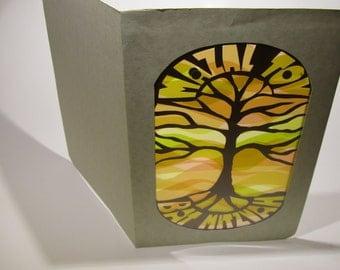 Mazel Tov, Mazal Tov Bat Mitzvah Card in Yellow Orange & Brown shades W/ TREE of LIFE Silhouette PAPERCUT Original Handmade Design OOaK