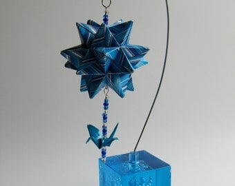 CHRISTMAS GIFT Modular ORIGAMi Star Centerpiece Decoration Handmade Home Décor Blue and Silver Stripes Hung on Metal Ornament Stand OOaK