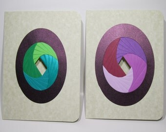 Iris Folding 2 Artistic Greeting Cards SOLD in Shades of Green and Purple. One of a Kind