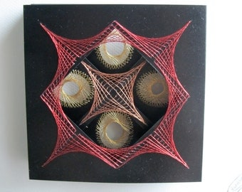 VALENTINES GIFT String Art Home Décor Geometric Wall Art Handmade Original with Harmony of Metallic Gold Silver Copper Red One Of A Kind