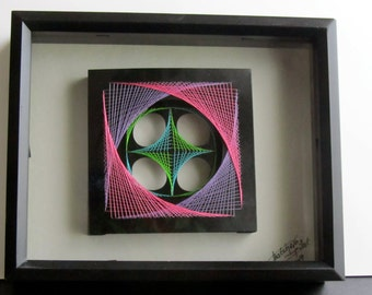 WALL ART Home Décor Geometric Original Design of String Art Handmade With Neon Fluorescent Pink, Purple, Turquoise and Green Threads OOAK