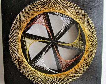 WALL ART Home Décor Geometric Original Design of String Art Handmade w/a Harmony of Metallic Threads in Gold, Silver and Copper OOAK
