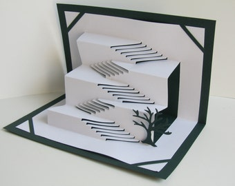 Pop Up 3D CARD Stairs To Success Home Decoration Origamic Architecture Handmade With Intricate Cuts and Folds in White and Dark Forest Green