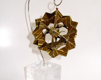 Ornament Home Décor 3D Modular Origami Made Of Gold and Brown Stripes Washi Paper Displayed on an Ornament Stand OOAK