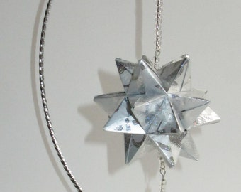 CHRISTMAS Ornament Home Décor Modular 3D Origami Spiked Icosahedron Handmade of Shimmery Embossed Silver Paper on Silver Metal ornament OOAK