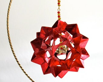 CHRISTMAS Gift Home Décor Modular 3D Origami Star Ball, HANDMADe in Shimmery Metallic Red Paper on Gold Tone Ornament Stand OOaK