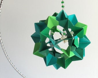 CHRISTMAS Ornament Decoration Home Décor 3D Modular Origami Handmade in Five GREEN Shades on Silver Metal Ornament Stand One Of A Kind