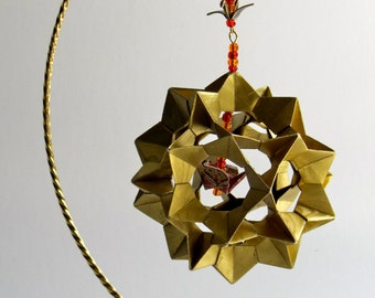 Ornament Decoration Home Décor 3D Modular Origami Handmade in Gold Metallic With a Burgundy Crane, on Ornament Stand One Of A Kind OOAK