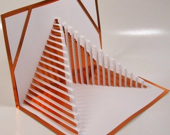 Pop Up Home Décor 3D STAIRS TO SUCCESS Handmade Cut by Hand Origamic Architecture in White and Bright Shimmery Metallic Pumpkin Orange.